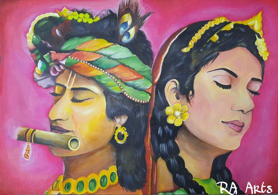 radha krishna, 22 x 15 inch, ravi almeida,22x15inch,drawing paper,paintings,radha krishna paintings,paintings for living room,watercolor,ADR21241030753
