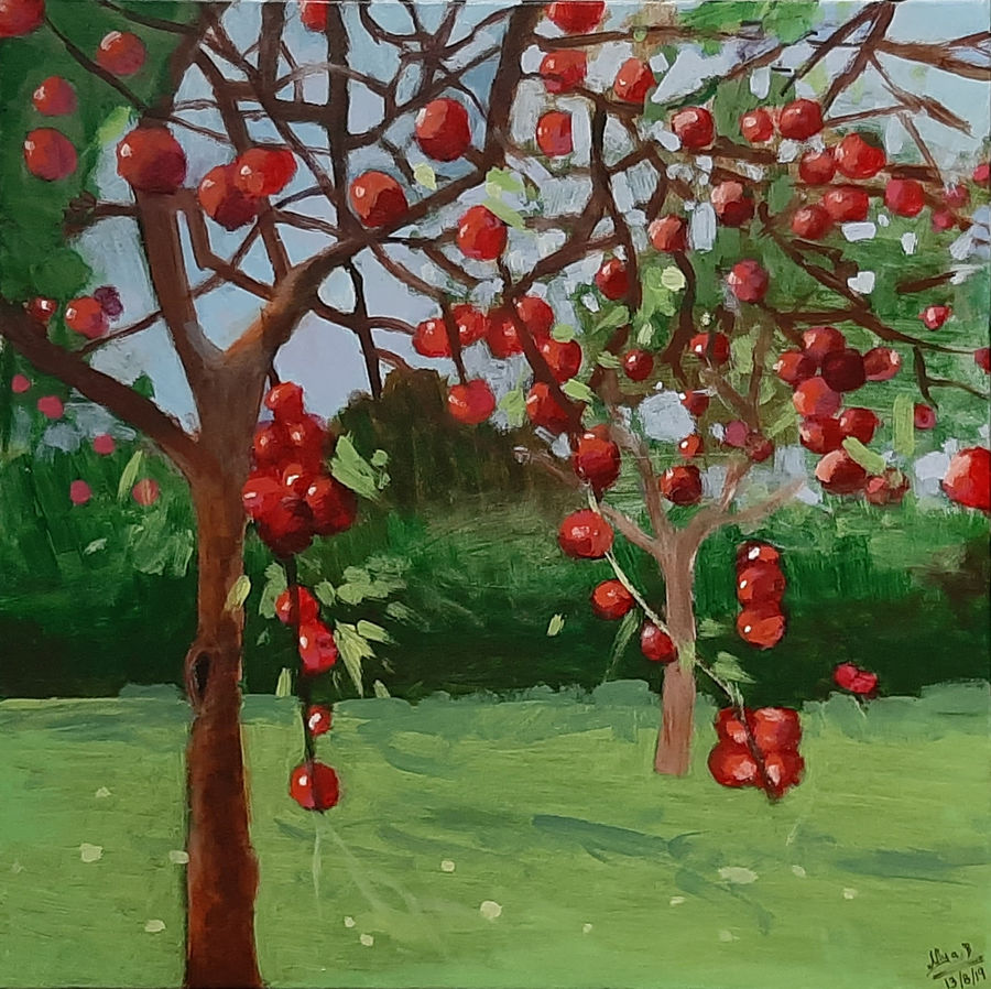 red cherries, 18 x 18 inch, tejal bhagat,18x18inch,canvas,paintings,flower paintings,landscape paintings,conceptual paintings,nature paintings | scenery paintings,abstract expressionism paintings,expressionism paintings,impressionist paintings,photorealism paintings,photorealism,realism paintings,surrealism paintings,contemporary paintings,realistic paintings,love paintings,paintings for dining room,paintings for living room,paintings for bedroom,paintings for office,paintings for bathroom,paintings for kids room,paintings for hotel,paintings for kitchen,paintings for schools & colleges,paintings for hospital,acrylic color,ADR21262030755