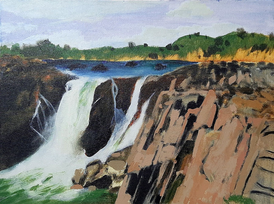 rock waterfall, 16 x 12 inch, tejal bhagat,16x12inch,canvas board,paintings,landscape paintings,nature paintings | scenery paintings,expressionism paintings,photorealism paintings,photorealism,realism paintings,surrealism paintings,contemporary paintings,realistic paintings,paintings for dining room,paintings for living room,paintings for bedroom,paintings for office,paintings for bathroom,paintings for hotel,paintings for kitchen,paintings for schools & colleges,paintings for hospital,acrylic color,ADR21262030760