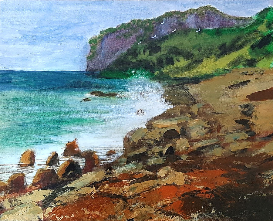 rocky shore, 20 x 16 inch, tejal bhagat,20x16inch,canvas board,paintings,landscape paintings,conceptual paintings,nature paintings | scenery paintings,expressionism paintings,impressionist paintings,photorealism paintings,photorealism,realism paintings,surrealism paintings,contemporary paintings,realistic paintings,paintings for dining room,paintings for living room,paintings for bedroom,paintings for office,paintings for bathroom,paintings for hotel,paintings for kitchen,paintings for schools & colleges,paintings for hospital,acrylic color,ADR21262030761