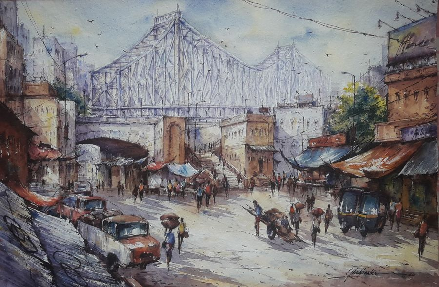 market near howrah bridge-1, 22 x 15 inch, shubhashis mandal,22x15inch,handmade paper,paintings,cityscape paintings,paintings for dining room,paintings for living room,paintings for bedroom,paintings for office,paintings for hotel,watercolor,ADR18644030767