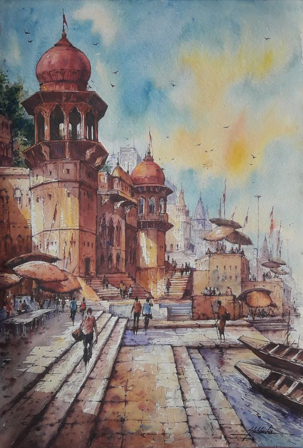 benaras ghat-9, 15 x 22 inch, shubhashis mandal,15x22inch,handmade paper,paintings,religious paintings,paintings for dining room,paintings for living room,paintings for bedroom,paintings for office,paintings for hotel,watercolor,ADR18644030769
