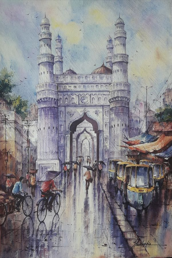 hyderabad-1, 15 x 22 inch, shubhashis mandal,15x22inch,handmade paper,paintings,cityscape paintings,paintings for dining room,paintings for living room,paintings for bedroom,paintings for office,paintings for hotel,watercolor,ADR18644030772