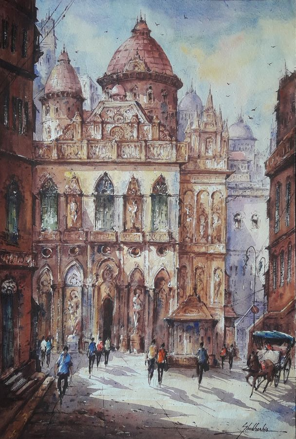 the church in italy-1, 15 x 22 inch, shubhashis mandal,15x22inch,handmade paper,paintings,cityscape paintings,paintings for dining room,paintings for living room,paintings for bedroom,paintings for office,paintings for hotel,watercolor,ADR18644030774