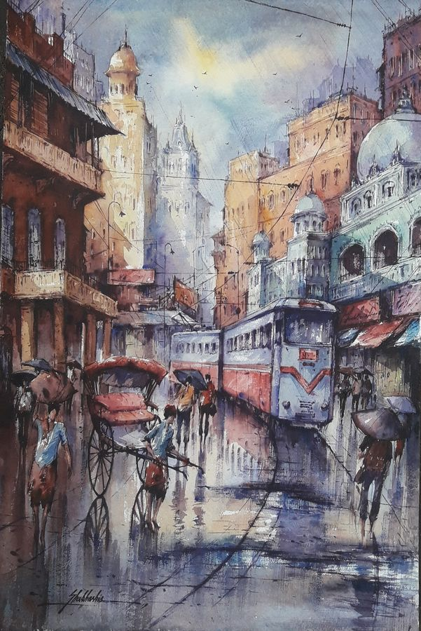 the tram in kolkata-5, 15 x 22 inch, shubhashis mandal,15x22inch,handmade paper,paintings,cityscape paintings,paintings for dining room,paintings for living room,paintings for bedroom,paintings for office,paintings for hotel,watercolor,ADR18644030775