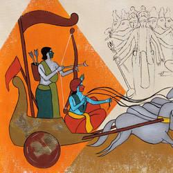 Arjuna and Krishna - 22x17