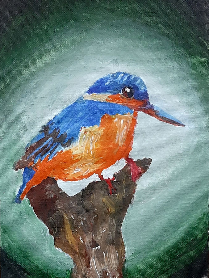 kingfishers, 6 x 8 inch, tejal bhagat,6x8inch,canvas board,paintings,wildlife paintings,nature paintings | scenery paintings,expressionism paintings,impressionist paintings,photorealism paintings,photorealism,realism paintings,surrealism paintings,animal paintings,contemporary paintings,realistic paintings,love paintings,children paintings,paintings for dining room,paintings for living room,paintings for bedroom,paintings for office,paintings for kids room,paintings for hotel,paintings for kitchen,paintings for schools & colleges,paintings for hospital,acrylic color,ADR21262030792