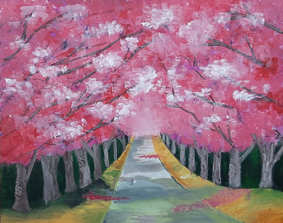 cherry blossom, 20 x 16 inch, tejal bhagat,20x16inch,canvas board,paintings,flower paintings,landscape paintings,conceptual paintings,nature paintings | scenery paintings,expressionism paintings,illustration paintings,impressionist paintings,photorealism paintings,photorealism,realism paintings,surrealism paintings,contemporary paintings,realistic paintings,love paintings,paintings for dining room,paintings for living room,paintings for bedroom,paintings for office,paintings for bathroom,paintings for hotel,paintings for kitchen,paintings for schools & colleges,paintings for hospital,acrylic color,ADR21262030793