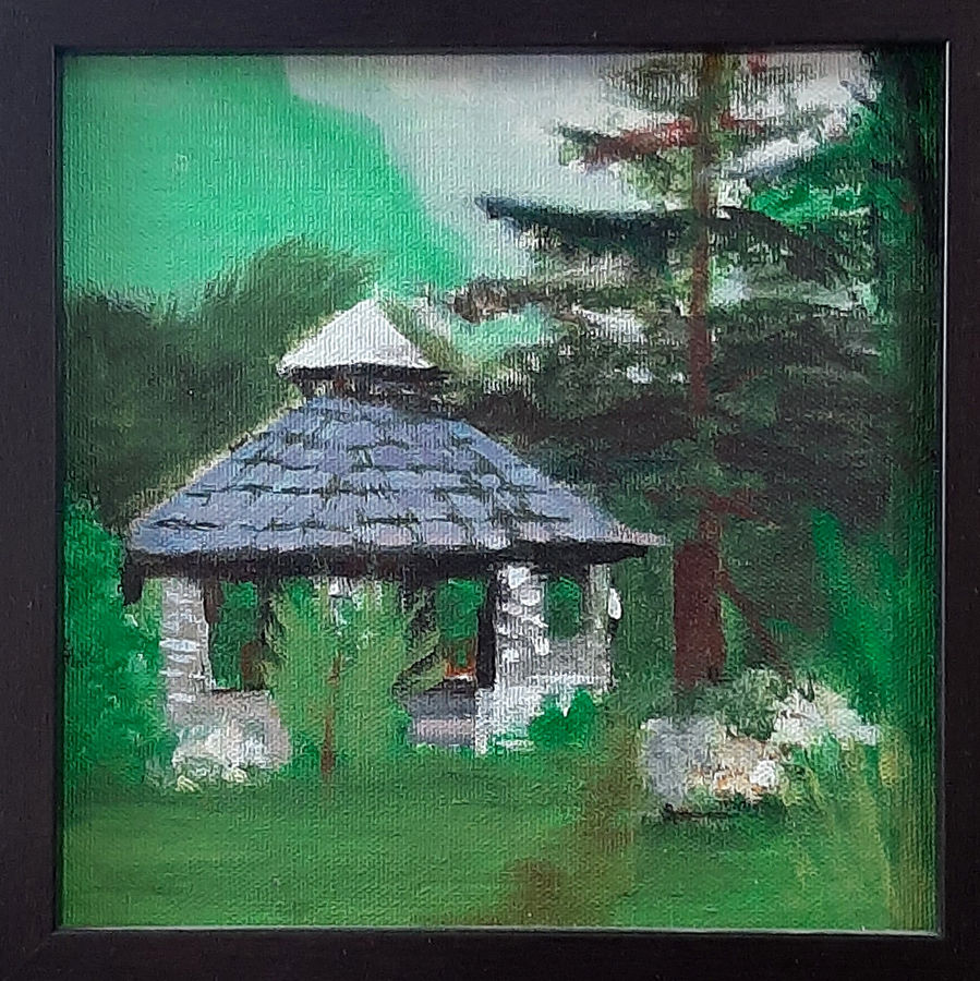 house in jungle, 8 x 8 inch, tejal bhagat,8x8inch,canvas board,paintings,flower paintings,landscape paintings,conceptual paintings,nature paintings | scenery paintings,expressionism paintings,impressionist paintings,photorealism paintings,photorealism,realism paintings,surrealism paintings,realistic paintings,paintings for dining room,paintings for living room,paintings for bedroom,paintings for office,paintings for hotel,paintings for kitchen,paintings for schools & colleges,paintings for hospital,acrylic color,ADR21262030795
