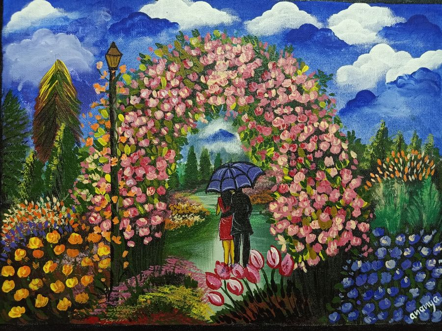 date in a beautiful park, 16 x 12 inch, ananya .,16x12inch,canvas board,paintings,figurative paintings,flower paintings,landscape paintings,paintings for dining room,paintings for living room,paintings for bedroom,paintings for hotel,paintings for dining room,paintings for living room,paintings for bedroom,paintings for hotel,acrylic color,ADR21080030805