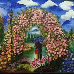 Date in a Beautiful Park - 16x12
