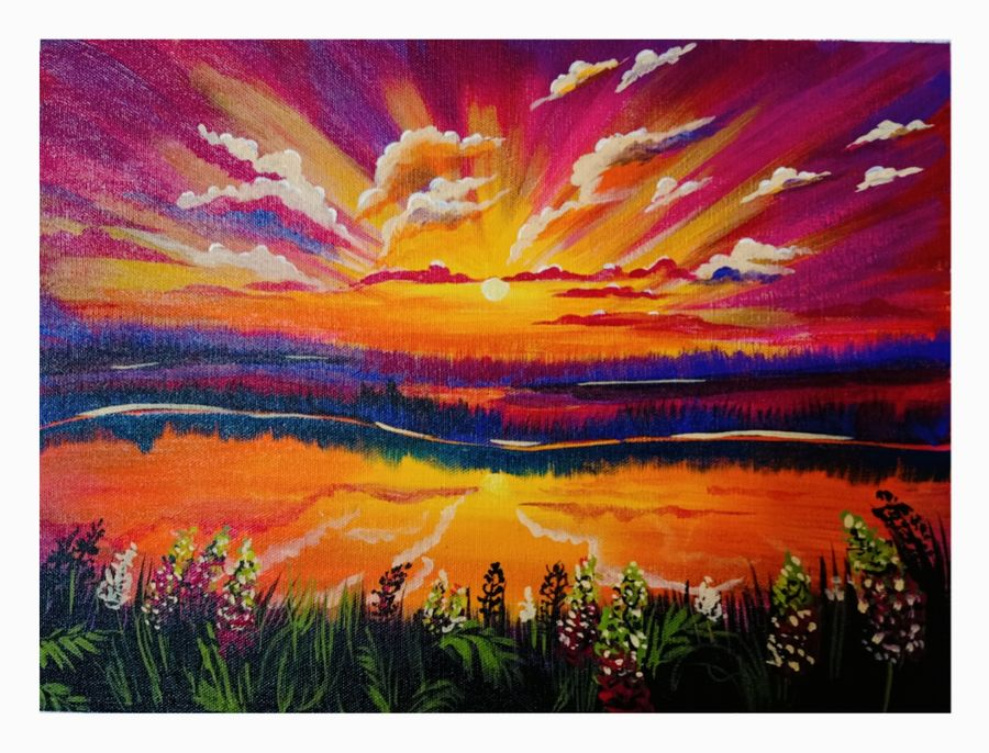 beautiful seaside sunset, 16 x 12 inch, ananya .,16x12inch,canvas board,paintings,landscape paintings,nature paintings | scenery paintings,paintings for dining room,paintings for living room,paintings for bedroom,paintings for office,paintings for hotel,paintings for hospital,acrylic color,ADR21080030810