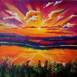 Beautiful Seaside Sunset - 16x12