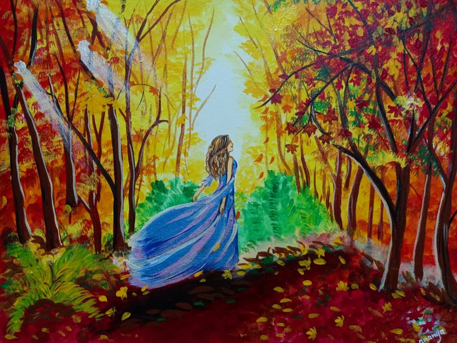 autumn landscape with a princess, 20 x 16 inch, ananya .,20x16inch,canvas board,paintings,figurative paintings,landscape paintings,nature paintings | scenery paintings,paintings for dining room,paintings for living room,paintings for bedroom,paintings for office,paintings for kids room,paintings for hotel,paintings for schools & colleges,paintings for hospital,acrylic color,ADR21080030812