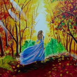 Autumn Landscape With a Princess - 20x16