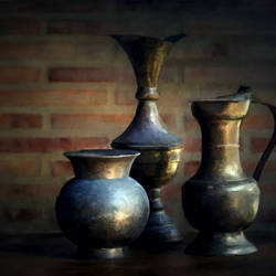 Antique Metal Jars Table Decor - 30x19