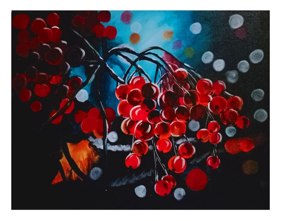 nature and cherries, 18 x 14 inch, ananya .,18x14inch,canvas board,paintings,nature paintings | scenery paintings,paintings for dining room,paintings for living room,paintings for bedroom,paintings for office,paintings for kids room,paintings for hotel,paintings for kitchen,paintings for schools & colleges,paintings for hospital,acrylic color,ADR21080030814