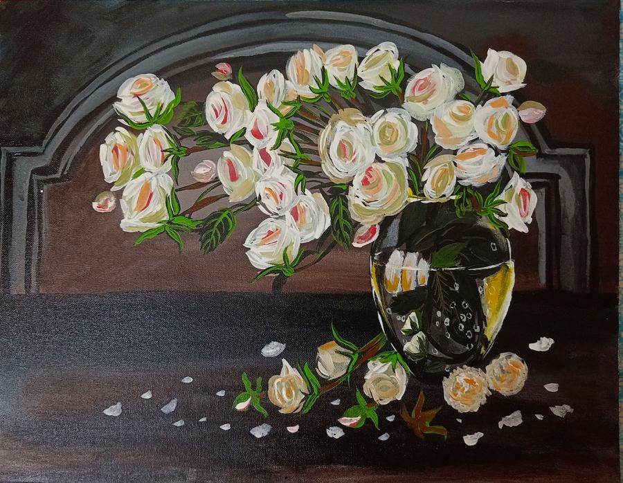 white roses in a glass vase, 18 x 14 inch, ananya .,18x14inch,canvas,paintings,flower paintings,paintings for dining room,paintings for living room,paintings for bedroom,paintings for office,paintings for hotel,paintings for hospital,acrylic color,ADR21080030815