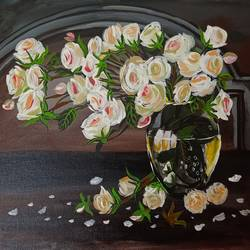 White Roses in a Glass Vase - 18x14