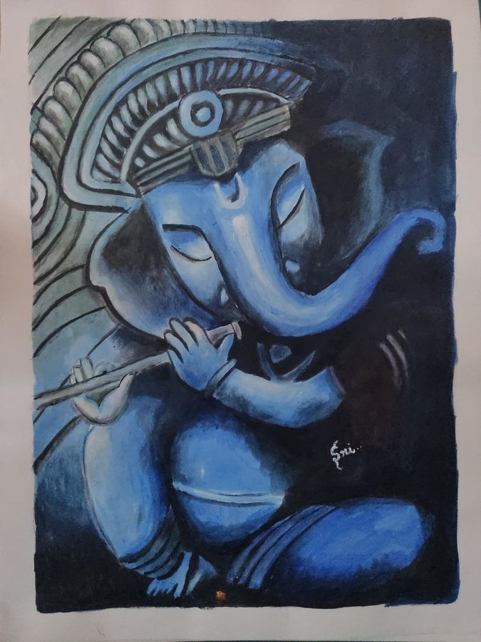 lord ganesha, 12 x 16 inch, srinithi thilakar,12x16inch,drawing paper,paintings,religious paintings,ganesha paintings | lord ganesh paintings,paintings for living room,acrylic color,ADR21311030819