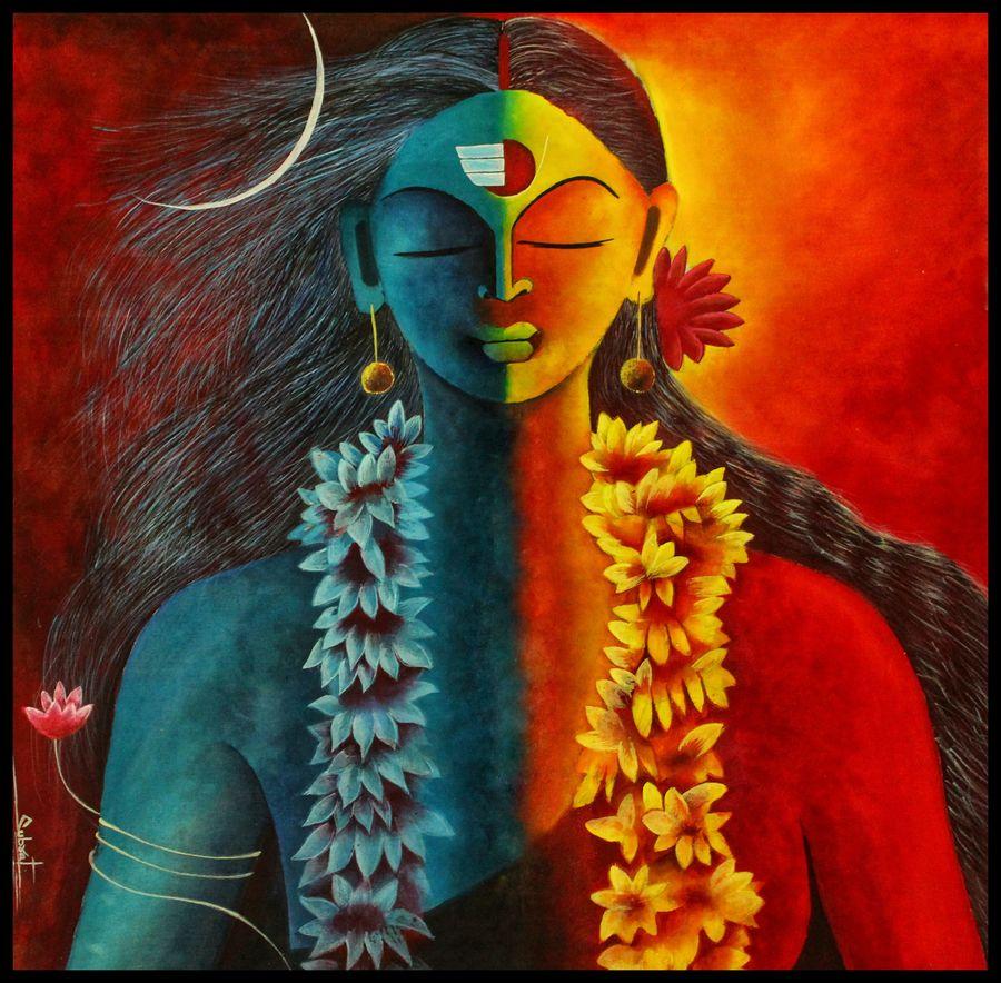 hindustani acrylic painting, 22 x 22 inch, subrata kumar paul,22x22inch,cloth,paintings,religious paintings,acrylic color,ADR21312030821