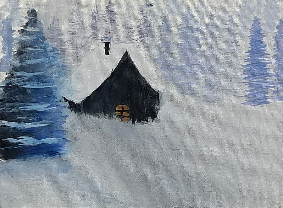 snow house, 8 x 8 inch, tejal bhagat,8x8inch,canvas board,paintings,landscape paintings,conceptual paintings,nature paintings | scenery paintings,expressionism paintings,impressionist paintings,photorealism paintings,photorealism,realism paintings,surrealism paintings,contemporary paintings,realistic paintings,paintings for dining room,paintings for living room,paintings for bedroom,paintings for office,paintings for kids room,paintings for hotel,paintings for kitchen,paintings for schools & colleges,paintings for hospital,acrylic color,ADR21262030827