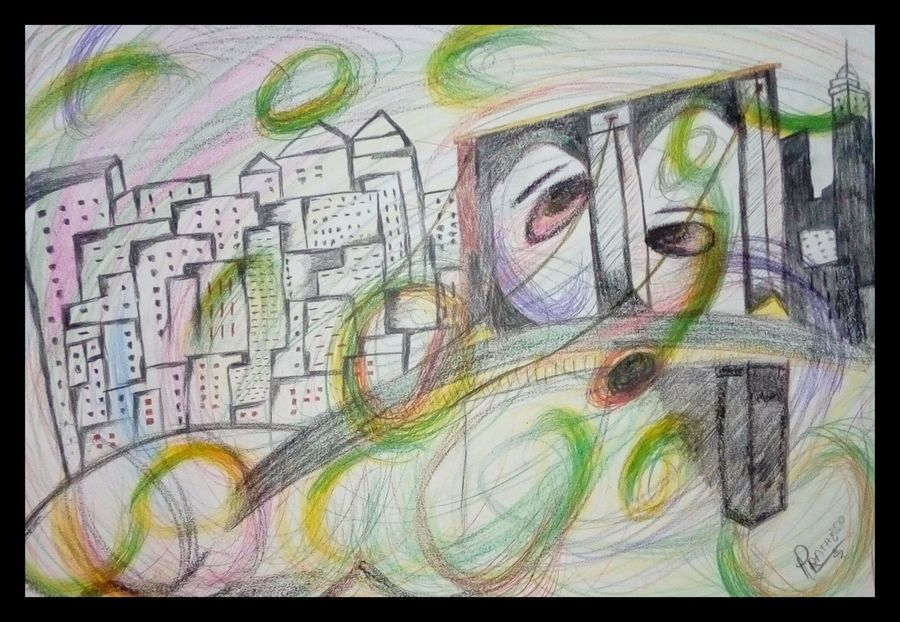 city of waves , 17 x 23 inch, chaudhari  pratik ,17x23inch,cartridge paper,paintings,cityscape paintings,modern art paintings,conceptual paintings,paintings for living room,paintings for bedroom,charcoal,pencil color,ADR20485030844