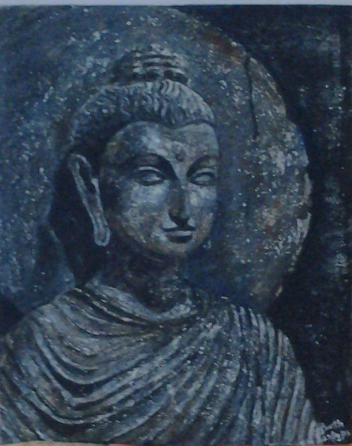buddha, 18 x 22 inch, prabha  panth,18x22inch,canvas board,paintings,buddha paintings,paintings for living room,acrylic color,sand,ADR3907030846