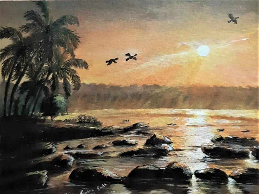 sun ruse, 20 x 16 inch, prabha  panth,20x16inch,canvas board,paintings,landscape paintings,paintings for living room,paintings for bedroom,paintings for office,acrylic color,ADR3907030847