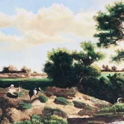 Village landscape painting - 48x30