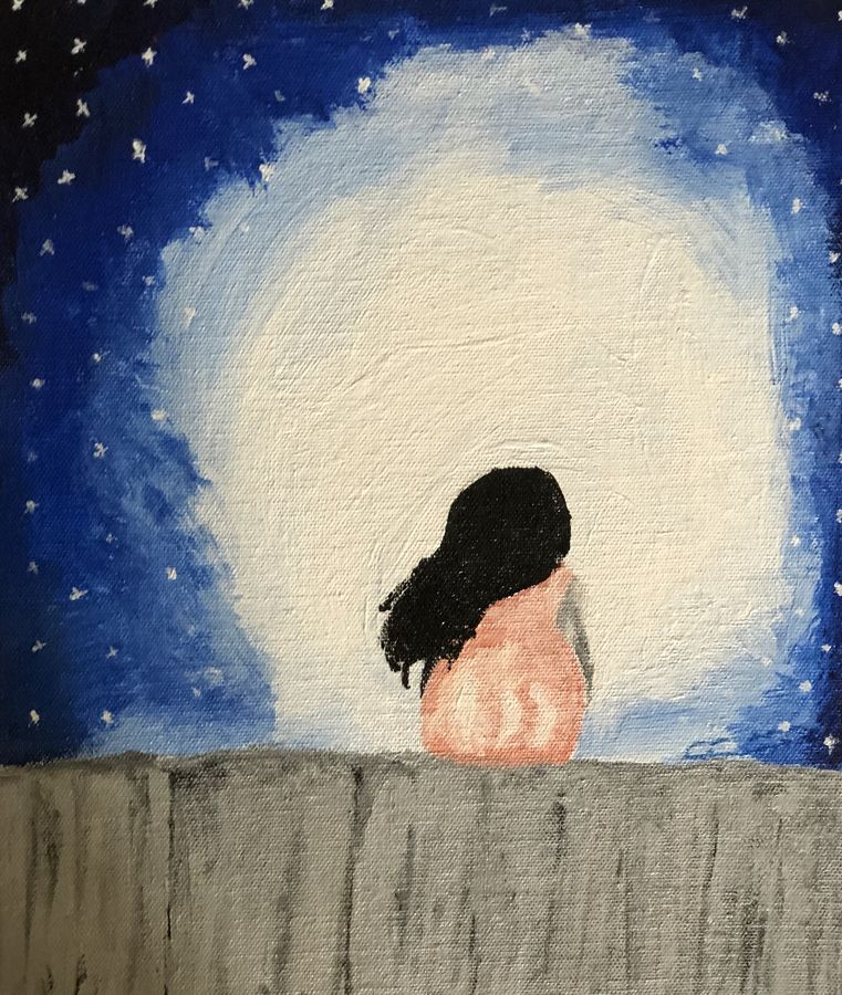 girl seating on wall, 25 x 30 inch, ruchi trivedi ,25x30inch,canvas,paintings,landscape paintings,acrylic color,ADR21365030856