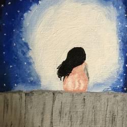 Girl seating on wall - 25x30
