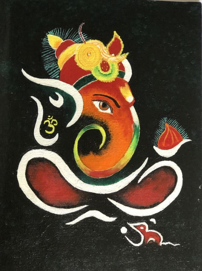 ganesh, 30 x 40 inch, ruchi trivedi ,30x40inch,canvas,ganesha paintings | lord ganesh paintings,acrylic color,ADR21365030865