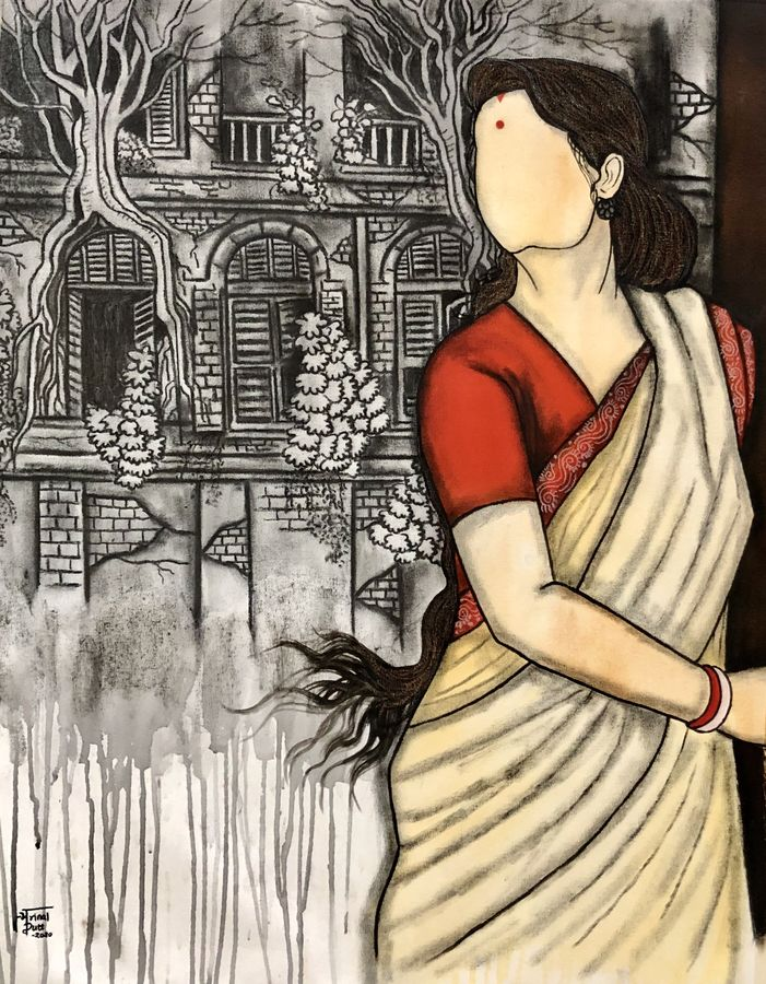 bideshini , 26 x 34 inch, mrinal  dutt,26x34inch,canvas,paintings,figurative paintings,contemporary paintings,paintings for dining room,paintings for living room,paintings for bedroom,paintings for office,paintings for bathroom,paintings for kids room,paintings for hotel,paintings for kitchen,paintings for schools & colleges,paintings for hospital,acrylic color,charcoal,ADR13117030866