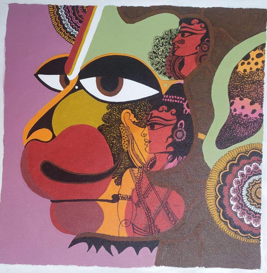 jai hanuman , 20 x 20 inch, reetika narang,20x20inch,canvas,paintings,religious paintings,acrylic color,ADR19689030867