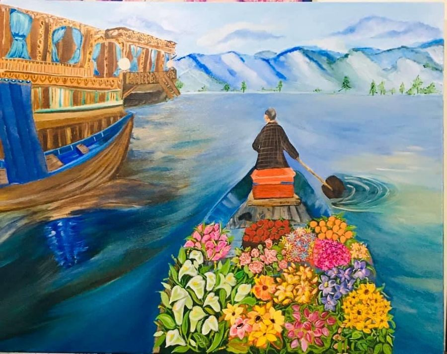 shikaara, 30 x 40 inch, sthita nayak,30x40inch,canvas,paintings,landscape paintings,paintings for dining room,paintings for living room,paintings for bedroom,paintings for office,paintings for hotel,paintings for schools & colleges,paintings for hospital,acrylic color,oil color,ADR21371030868