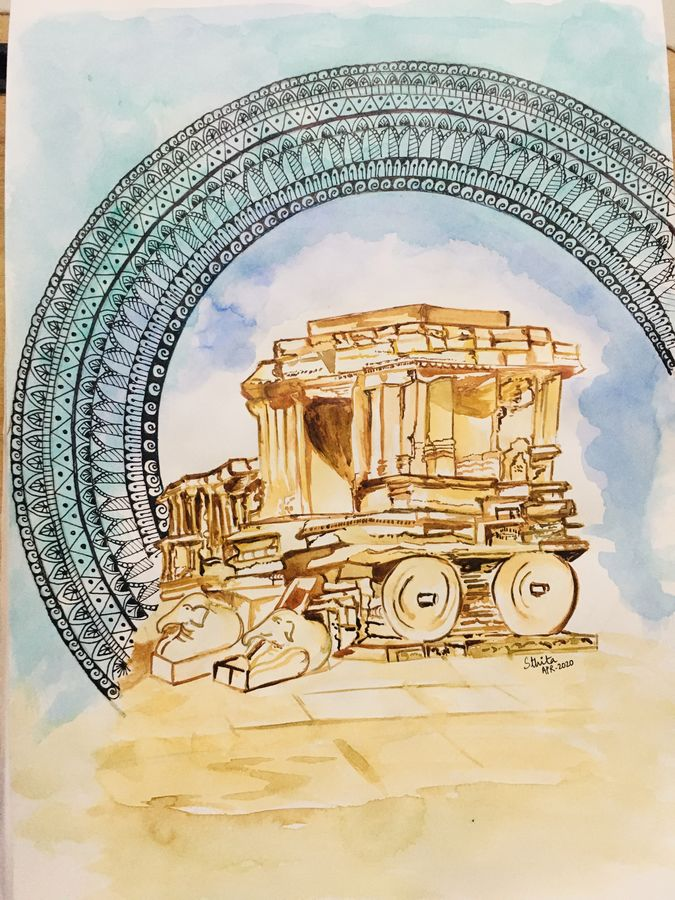 hampi chariot, 12 x 17 inch, sthita nayak,12x17inch,handmade paper,paintings,abstract paintings,landscape paintings,modern art paintings,conceptual paintings,paintings for dining room,paintings for bedroom,paintings for office,paintings for hotel,paintings for schools & colleges,paintings for hospital,watercolor,ball point pen,ADR21371030869