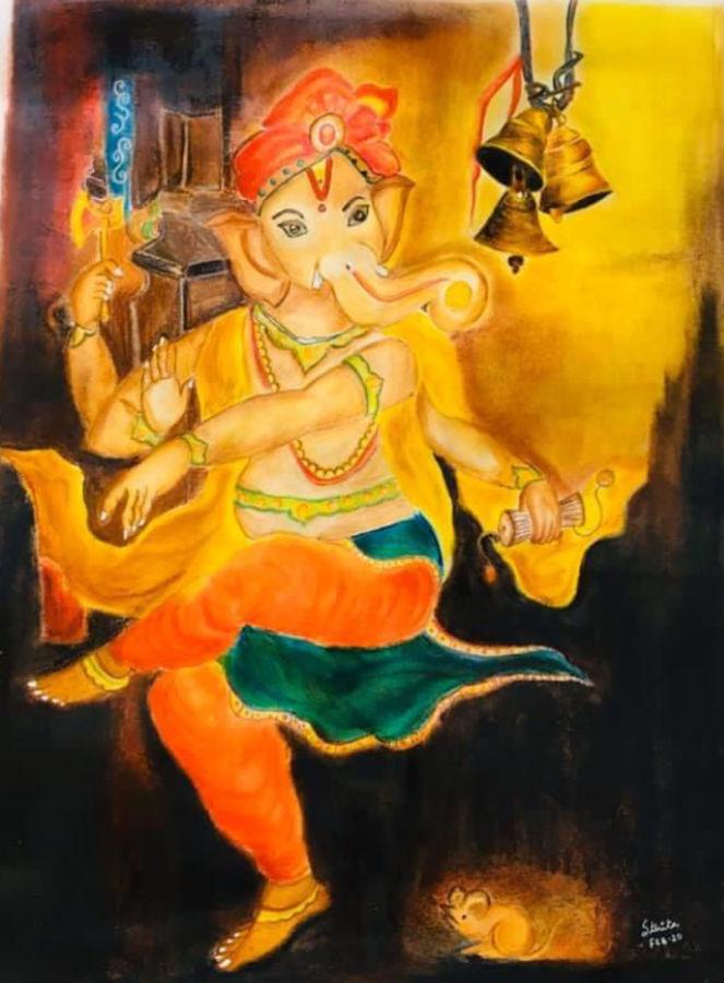 ganesha, 17 x 24 inch, sthita nayak,17x24inch,handmade paper,paintings,ganesha paintings   lord ganesh paintings,pastel color,pencil color,watercolor,ADR21371030871