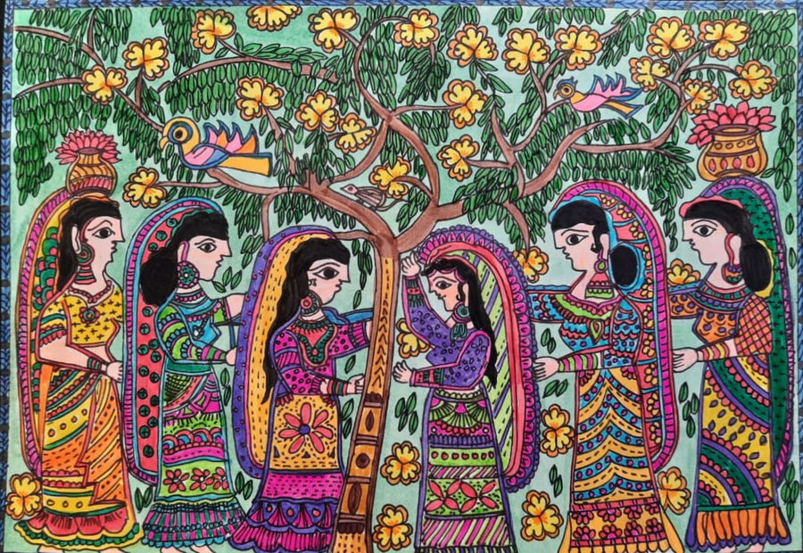 sangi saheli, 11 x 9 inch, babita singh,11x9inch,ivory sheet,paintings,figurative paintings,folk art paintings,madhubani paintings | madhubani art,paintings for dining room,paintings for living room,paintings for bedroom,paintings for office,paintings for kids room,paintings for hotel,paintings for kitchen,ink color,pen color,photo ink,paper,ADR18394030877
