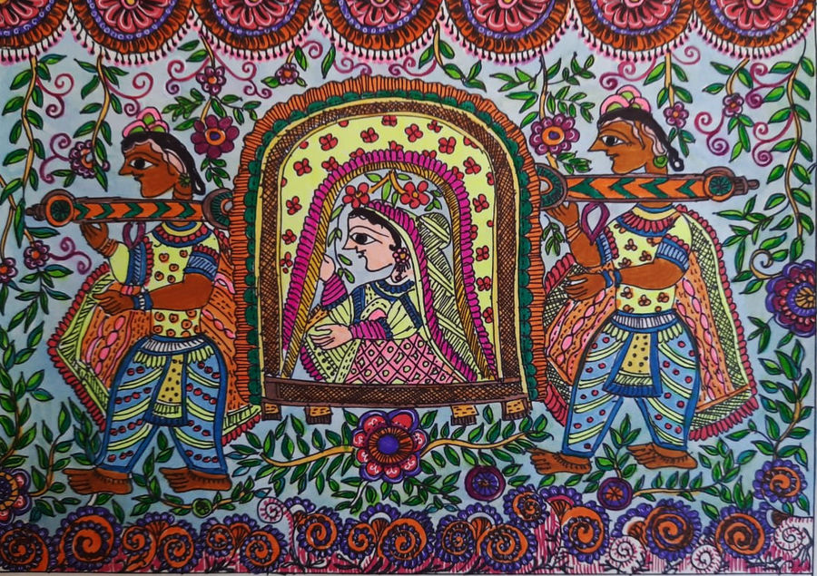 piya ke ghar, 12 x 9 inch, babita singh,12x9inch,ivory sheet,figurative paintings,folk art paintings,madhubani paintings | madhubani art,paintings for dining room,paintings for living room,paintings for bedroom,paintings for office,paintings for hotel,paintings for kitchen,paintings for dining room,paintings for living room,paintings for bedroom,paintings for office,paintings for hotel,paintings for kitchen,ink color,photo ink,paper,ADR18394030878