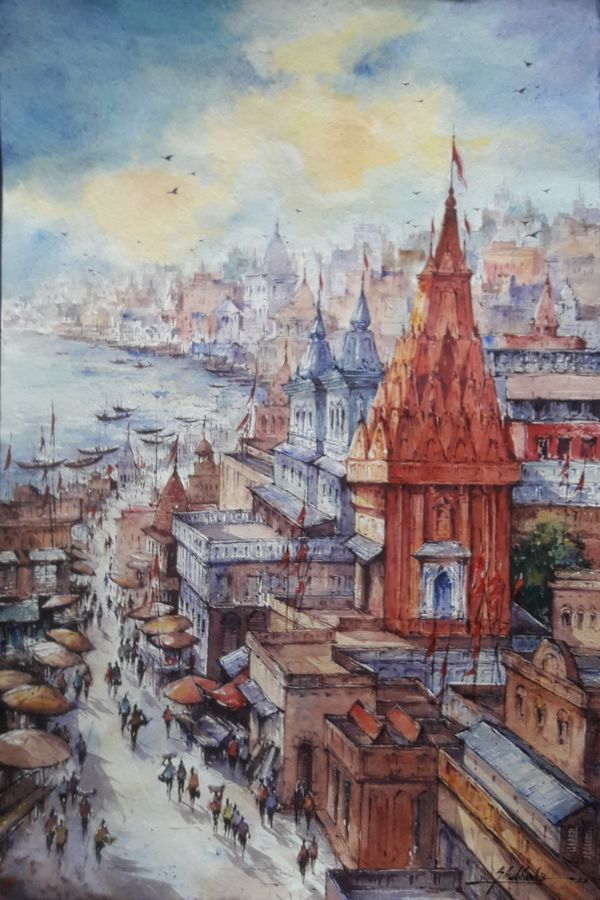 top view of benaras-1, 15 x 22 inch, shubhashis mandal,15x22inch,handmade paper,paintings,religious paintings,paintings for dining room,paintings for living room,paintings for bedroom,paintings for office,paintings for hotel,watercolor,ADR18644030894