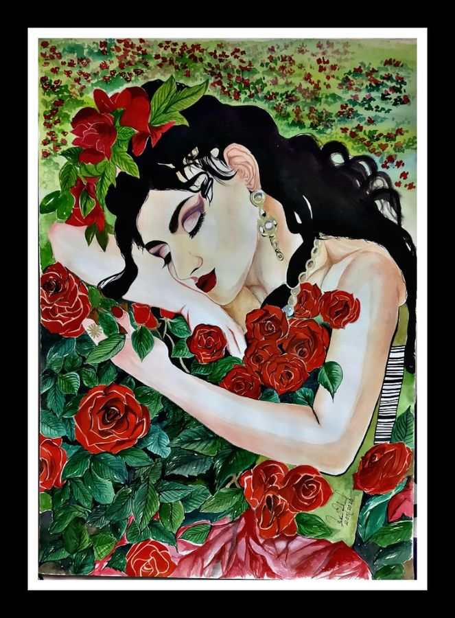 the scent of roses, 30 x 42 inch, pekon mondal,30x42inch,renaissance watercolor paper,paintings,figurative paintings,portrait paintings,paintings for dining room,paintings for living room,paintings for bedroom,paintings for dining room,paintings for living room,paintings for bedroom,watercolor,ADR20956030900