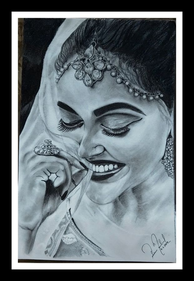 the smile, 30 x 42 inch, pekon mondal,30x42inch,arches paper,drawings,portrait drawings,charcoal,ADR20956030901