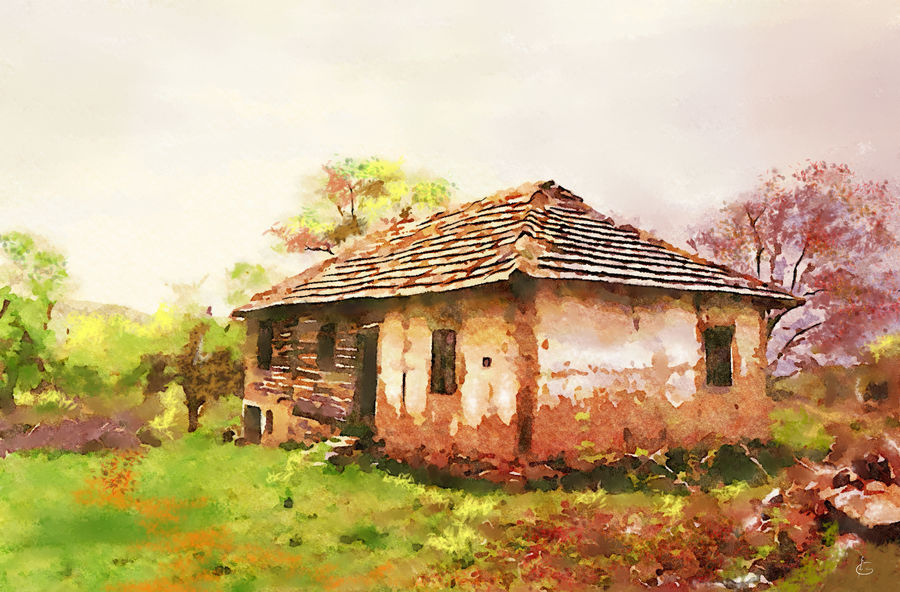 countryside antique (old) house, 28 x 18 inch, girinath goukulavasan,28x18inch,canvas,paintings,folk art paintings,landscape paintings,nature paintings | scenery paintings,contemporary paintings,realistic paintings,paintings for dining room,paintings for living room,paintings for bedroom,paintings for office,paintings for bathroom,paintings for kids room,paintings for hotel,paintings for kitchen,paintings for schools & colleges,paintings for hospital,watercolor,digital print,ADR20105030903
