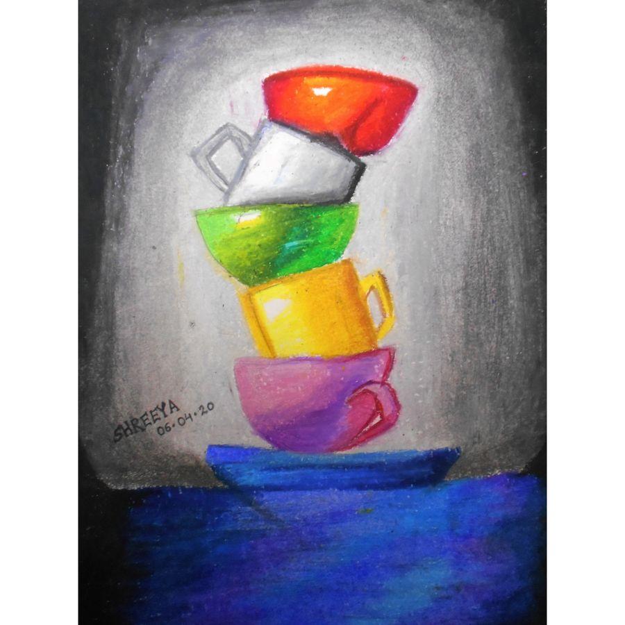 still life art, 8 x 11 inch, shreeya kulhara,8x11inch,thick paper,figurative paintings,paintings for kitchen,paintings for kitchen,pastel color,paper,ADR21404030908