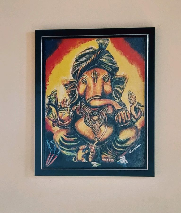 ganesha, 24 x 24 inch, varnodhar pradeep kumar s,24x24inch,canvas,paintings,ganesha paintings | lord ganesh paintings,paintings for living room,paintings for bedroom,paintings for office,paintings for hotel,paintings for schools & colleges,paintings for hospital,digital print,ADR21156030909