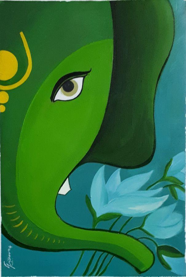 greenganesh, 10 x 15 inch, yogiraj gajbhar,10x15inch,thick paper,ganesha paintings | lord ganesh paintings,oil color,ADR21475030912