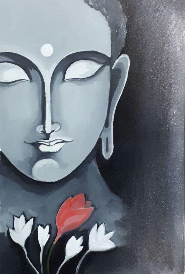 buddha, 10 x 15 inch, yogiraj gajbhar,10x15inch,thick paper,paintings,buddha paintings,paintings for dining room,paintings for living room,paintings for bedroom,paintings for office,paintings for hotel,oil color,ADR21475030914