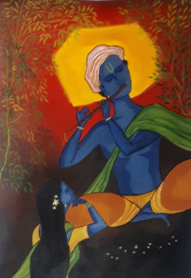 radha krishna, 10 x 15 inch, yogiraj gajbhar,10x15inch,thick paper,paintings,modern art paintings,radha krishna paintings,paintings for dining room,paintings for bedroom,paintings for office,paintings for hotel,acrylic color,ADR21475030917