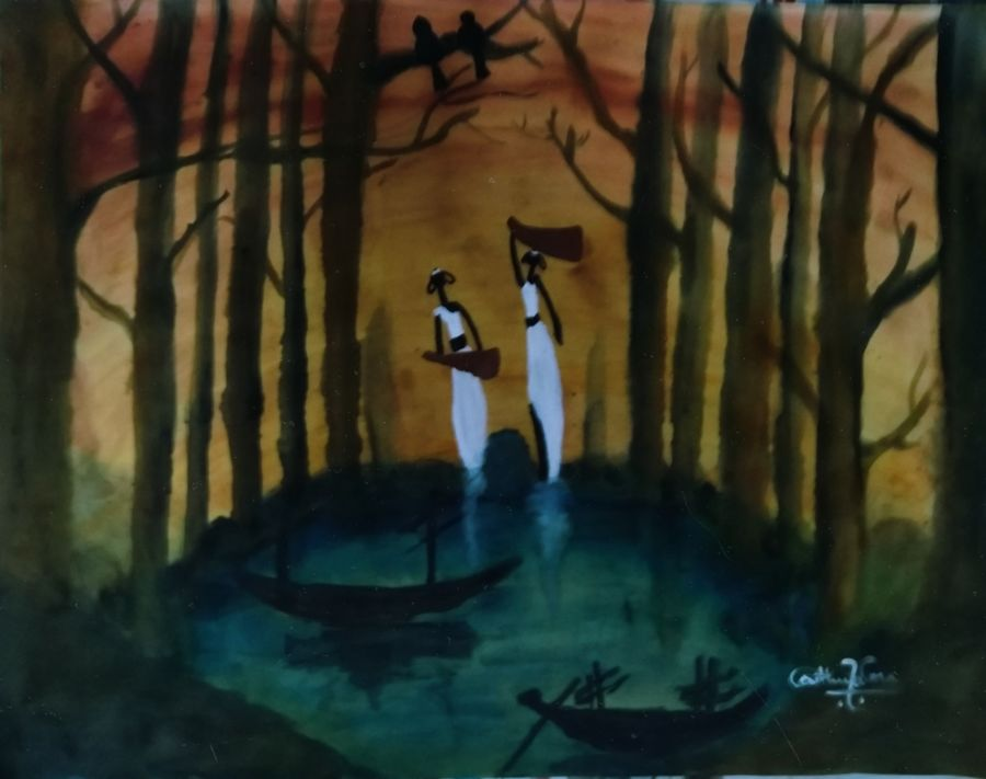 nature/scenery/women  fetching water, 22 x 28 inch, neethu varma,22x28inch,thick paper,nature paintings   scenery paintings,paintings for dining room,paintings for living room,paintings for bedroom,paintings for office,paintings for hotel,paintings for kitchen,paintings for schools & colleges,paintings for dining room,paintings for living room,paintings for bedroom,paintings for office,paintings for hotel,paintings for kitchen,paintings for schools & colleges,acrylic color,ADR21148030919